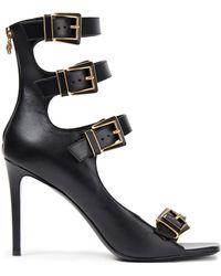 Balmain Buckled Leather Sandals - Black