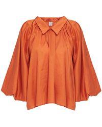 Totême Totême Gathered Woven Blouse - Orange
