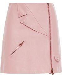 Vivetta Zip-detailed Leather Mini Skirt Baby Pink