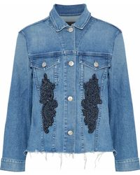 3x1 - Burke Frayed Embellished Denim Jacket Mid Denim - Lyst