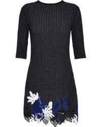 3.1 Phillip Lim - Guipure Lace And Ribbed Wool-blend Mini Dress - Lyst