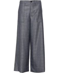 Ganni Crystal-embellished Prince Of Wales Checked Silk And Wool-blend Wide-leg Trousers - Grey