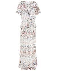 IRO Planty Ruffled Printed Crepe Maxi Dress - White