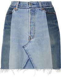 RE/DONE - Two-tone Frayed Denim Mini Skirt Light Denim - Lyst