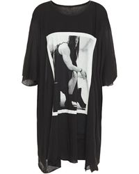 Rick Owens Drkshdw Printed Slub Cotton-jersey Tunic Black