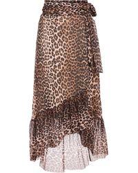 Ganni Leopard-print Stretch-mesh Midi Wrap Skirt Animal Print - Brown