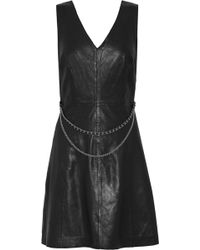 Muubaa - Handley Chain-embellished Leather Mini Dress - Lyst