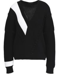 Rag & Bone - Cricket Two-tone Ribbed Cotton Sweater - Lyst