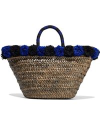 Kayu - Pompom-embellished Woven Straw Tote Royal Blue - Lyst