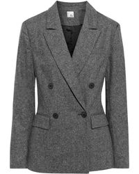 Iris & Ink Emma Double-breasted Mélange Wool-blend Blazer - Grey