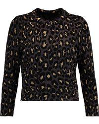 Marc By Marc Jacobs - Metallic Leopard-print Intarsia-knit Wool-blend Top - Lyst