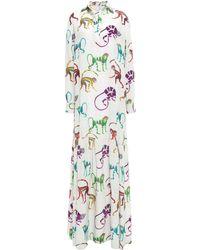 Stella Jean Silk-georgette Maxi Dress Ivory - White