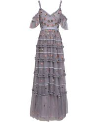 Needle & Thread Cold-shoulder Tiered Embroidered Tulle Gown Lavender - Multicolour