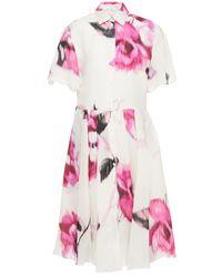 Carolina Herrera Pleated Floral-print Silk-organza Midi Shirt Dress - Pink