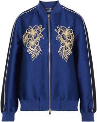 Stella McCartney Embroidered Satin Bomber Jacket Indigo - Blue