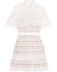 Self-Portrait Ruffled Guipure Lace Mini Dress White