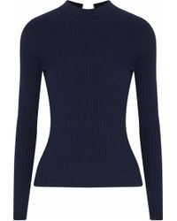 Autumn Cashmere - Tie-back Ribbed Merino Wool-blend Sweater Midnight Blue - Lyst
