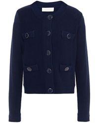 Goat Joy Button-detailed Ribbed-knit Cardigan - Blue