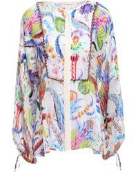 Etro Embellished Satin-trimmed Silk-georgette Shirt White