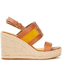 Tory Burch Two-tone Leather And Suede Espadrille Wedge Sandals Light Brown