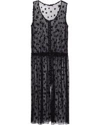 Anna Sui - Embroidered Mesh Midi Dress - Lyst