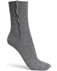 Brunello Cucinelli - Bead-embellished Mélange Cashmere Socks Dark Grey - Lyst