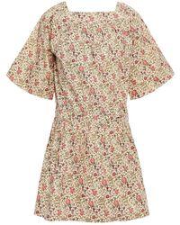 Vanessa Bruno Nessie Gathered Floral-print Cotton Mini Dress - Natural