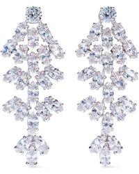 CZ by Kenneth Jay Lane - Silver-tone Crystal Clip Earrings - Lyst