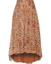 MASSCOB Printed Cotton And Silk-blend Gauze Skirt Camel - Brown