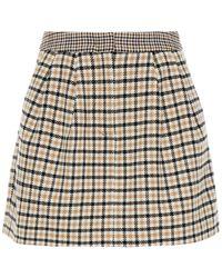 Vivetta Pleated Houndstooth Woven Mini Skirt - White