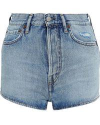 Acne Studios Distressed Denim Shorts Light Denim - Blue