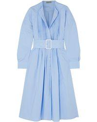Bottega Veneta Belted Pintucked Cotton-poplin Dress - Blue