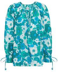 Antik Batik Loretta Floral-print Cotton Blouse - Blue