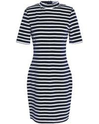 T By Alexander Wang - Striped Cotton-blend Velvet Mini Dress - Lyst