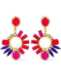 Elizabeth Cole 24-karat Gold-plated Crystal Earrings Red
