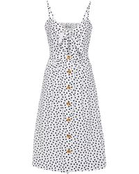 DL1961 Tie-front Printed Cotton Dress - White