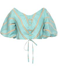 Paper London Hazy Daze Cropped Striped Linen-blend Blouse Turquoise - Blue
