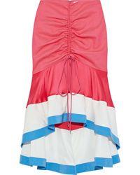 Prabal Gurung Ruched Satin-paneled Twill Skirt - Multicolour