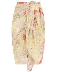 Zimmermann Floral-print Cotton-voile Pareo Pastel Yellow