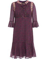 Anna Sui - Embellished Metallic Floral-print Fil Coupé Chiffon Dress Grape - Lyst