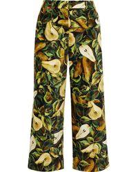Dolce & Gabbana Cropped Printed Cotton-blend Velvet Straight-leg Trousers - Green