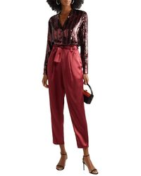 Sally Lapointe Striped Sequined Chiffon Blouse - Red