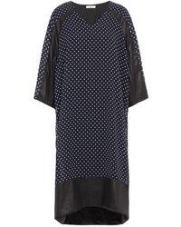 CLU Coated Polka-dot Georgette Dress - Blue