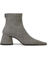 MM6 by Maison Martin Margiela - Prince Of Wales Checked Wool-blend Ankle Boots Black - Lyst