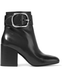 Alexander Wang - Kenze Buckled Leather Ankle Boots - Lyst