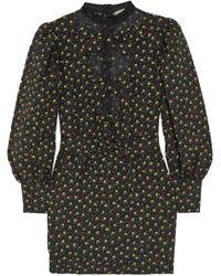 Alessandra Rich - Lace-paneled Floral-print Cloqué Mini Dress - Lyst