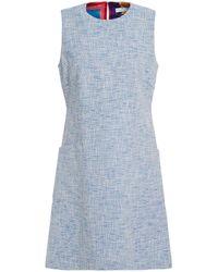 PS by Paul Smith Cotton-blend Tweed Mini Dress Light Blue
