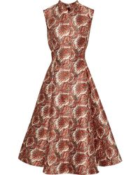 Adam Lippes Flared Printed Satin-jacquard Dress Cream - Multicolour