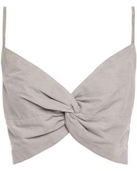Michelle Mason Cropped Twisted Suede Top Stone - Grey