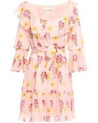Borgo De Nor - Lou Lou Ruffled Floral-print Cotton Mini Dress Pastel Pink - Lyst